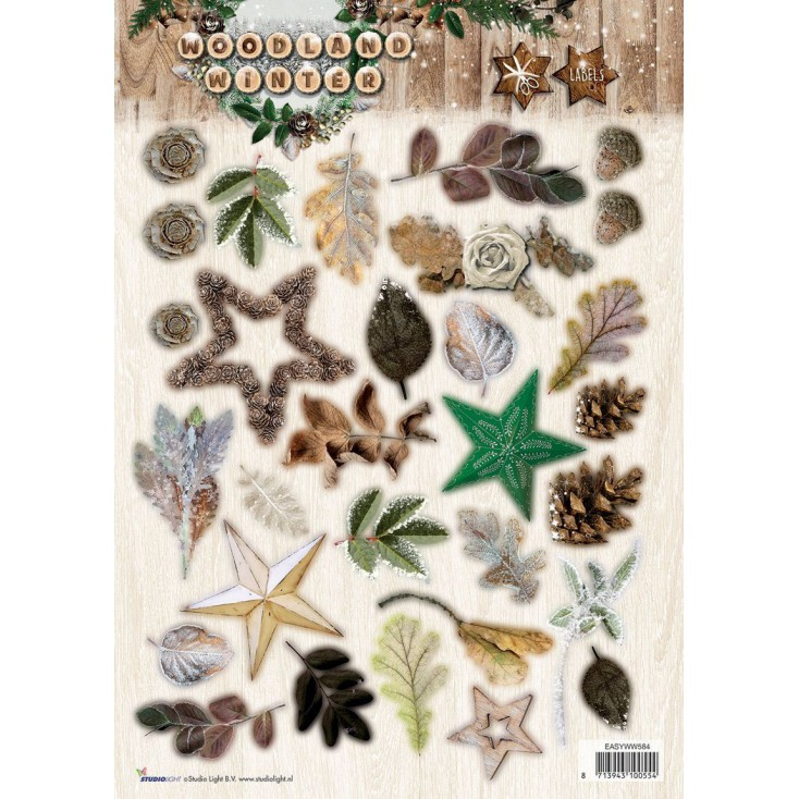 Papier do tworzenia kartek i scrapbookingu - Studio Light - Woodland Winter 01 - Obrazki do budowania kompozycji