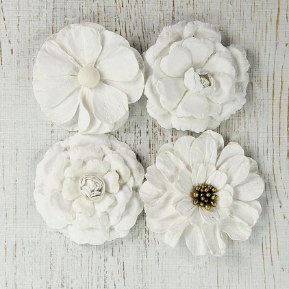 Paper flower set, white, big - Camden Cottage White - 4 pcs.