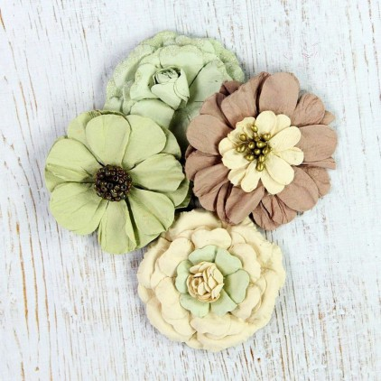 Paper flower set , mix green, cream, brown- Camden Cottage Hazelnut