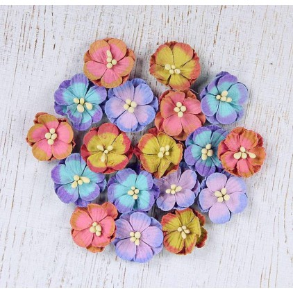 Paper flower set, colorful - Embossed Daisies French Carnival - 18 pcs.