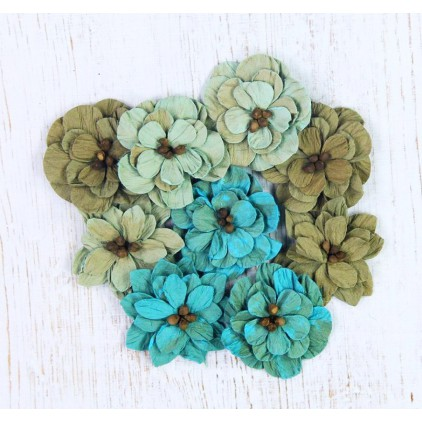 Paper flower set, mix of colours- Serenade Blooms Rustic Teal - 10 pcs.