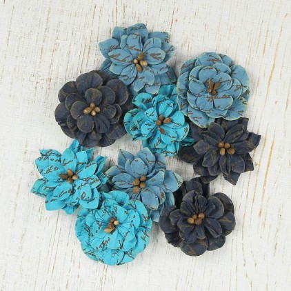 Paper flower set blue, jeans - Vintage Serenade Blooms Ocean Spray - 9 pcs.