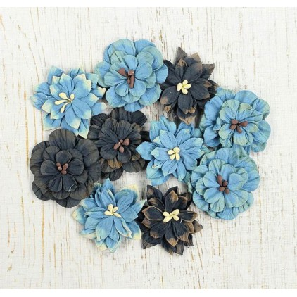 Paper flower set , mix jeans- Teastained Dahlias Blue - 10 pcs.