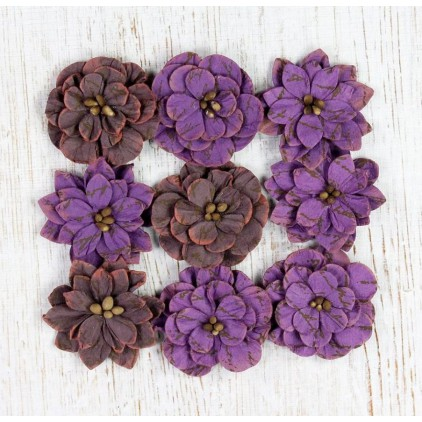 Paper flower set - Vintage Serenade Blooms Grape Crush