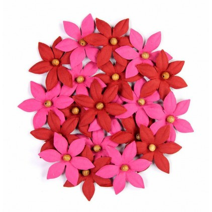 Paper flower set - Beaded Lilies Cerise Pink