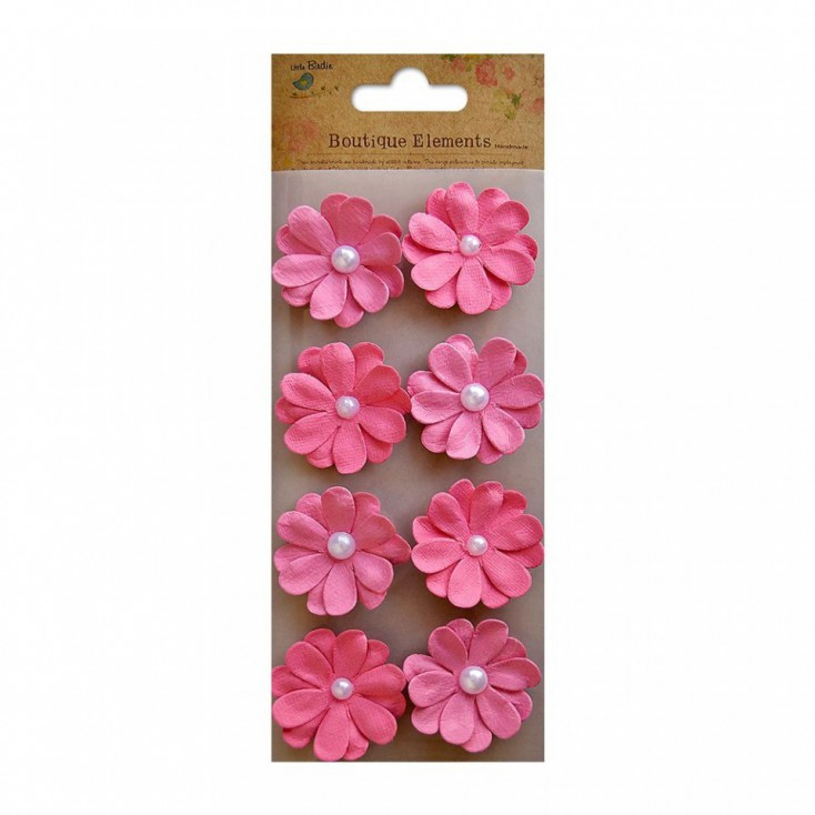 Paper flower set - Embossed Pearl Blooms Strawberry Fields