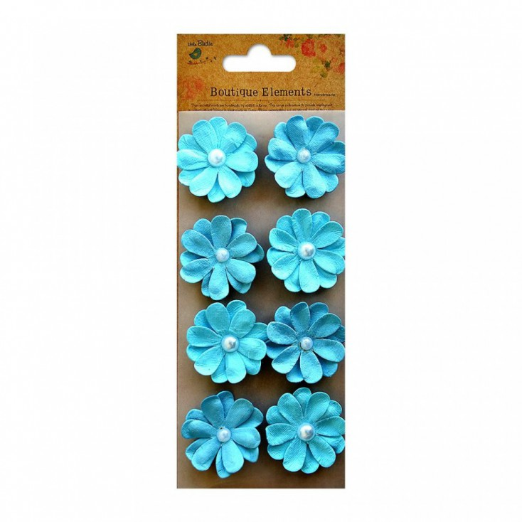 Paper flower set - Embossed Pearl Blooms Ocean Spray
