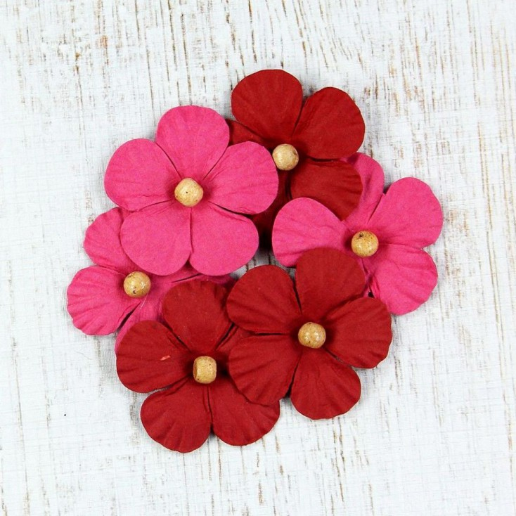 Paper flower set - Beaded Blooms Cerise Pink