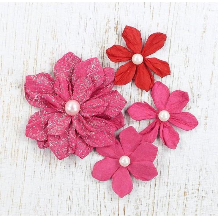 Paper flower set - Vanna Cerise Pink