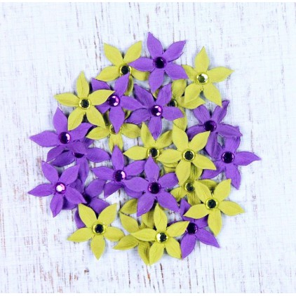 Paper flower set - Jewelled Star Florettes Aubergine