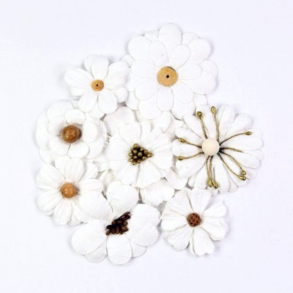 Paper flower set, white - Symphony Flowers Wedding - 8pcs.