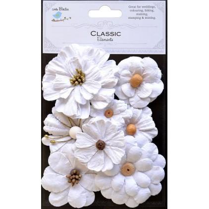CR34571- Kwiatki papierowe - Little biridie - Symphony Flower Classic White