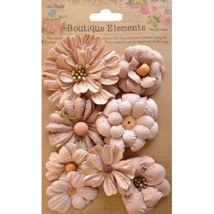 Paper flower set, cappucino - Symphony Flower Bisque - 8 pcs.