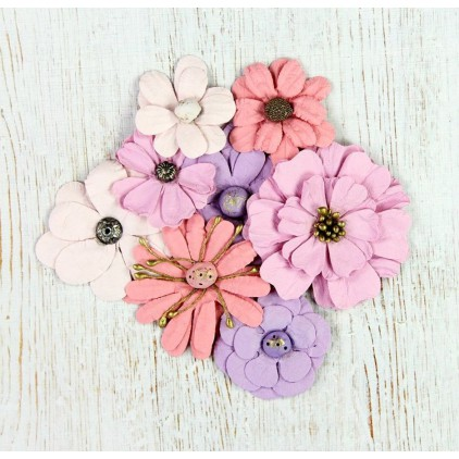 Paper flower set, mix lily and pink - Symphony Flowers Soft Touch - 8 pcs.