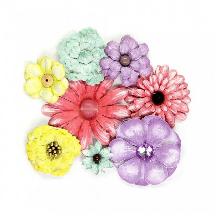 Paper flower set, colorful mix - Antique Fusion Flowers Party - 8 pcs.