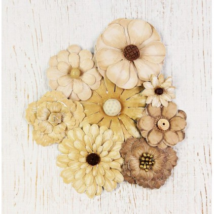 Paper flower set - Antique Fusion Flowers Vintage