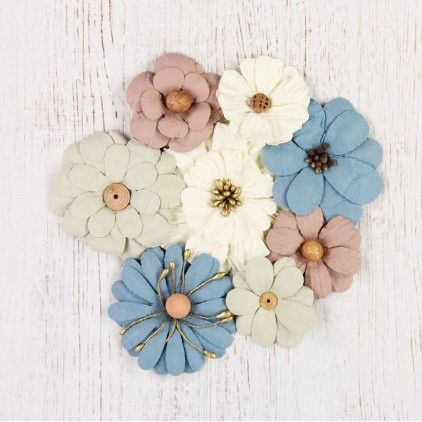 Paper flower set, a mix of designs and colors - Symphony Flower Wedding - 8 pcs.